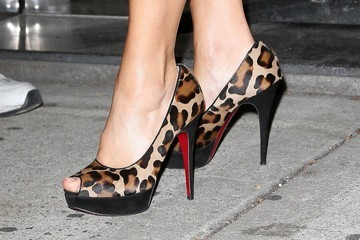 """Gina Gershon Gina Gershon, getting in touch with her wild side through her high heels. smiles as she heads out of the """"Wendy Williams Show"""" in New York City"""