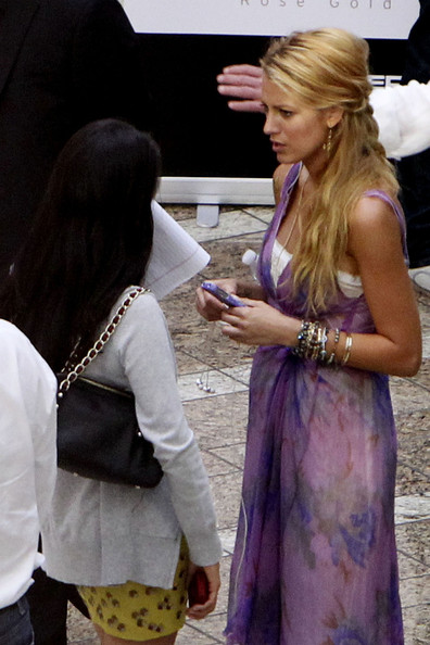 """Gossip Girl"" star Blake Lively films scenes for her new movie ""Savages"" in Los Angeles. Blake stars alongside John Travolta and Salma Hayek in the Oliver Stone production due for release in September 2012."