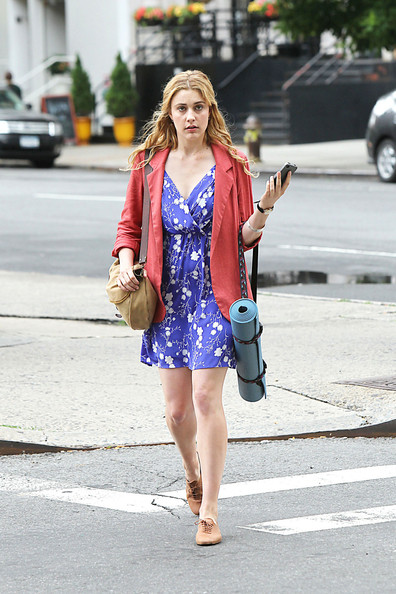 "Greta Gerwig on day one of filming on the ""Lola Versus"" film set in Tribeca. The romantic comedy traces the steps of a woman in her late twenties who is dumped by her fiance just before their wedding and co-stars Orlando Bloom."