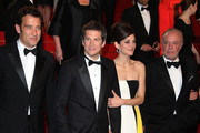 Clive Owen, Guillaume Canet, Marion Cotillard and James Caan leave the Premiere of 'Blood Ties' during the 66th Annual Cannes Film Festival at the Palais des Festivals in Cannes.