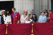 Prince William, Duke of Cambridge, Catherine Middleton, Duchess of Cambridge, Sophie Rhys-Jones, the Countess of Wessex, HRH Queen Elizabeth II and Prince Philip on the balcony of Buckingham Palace for the Queen's Birthday Parade, the Trooping the Colour. William, the Duke of Cambridge, took part in the parade for the first time while his new wife, Kate watched.