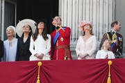 Prince Edward, Duke of Kent, Prince Michael of Kent, Prince William, Duke of Cambridge, Catherine Middleton, Duchess of Cambridge and Sophie Rhys-Jones, Countess of Wessex on the balcony of Buckingham Palace for the Queen's Birthday Parade, the Trooping the Colour. William, the Duke of Cambridge, took part in the parade for the first time while his new wife, Kate watched.