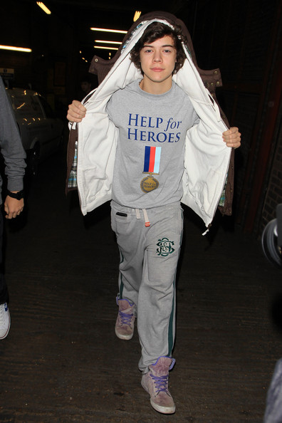 "Harry Styles Harry Styles of One Direction arriving at a central London dance studios as rehearsals continue for this week's ""The X Factor"". Harry wears a Help for Heroes t-shirt - a charity who support soldiers and their families."