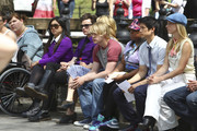 """The entire cast of the hit TV show """"Glee"""" film a signing and dancing scene in the famous Central Park, New York City. With the help of a NYPD horse riding officer, the cast made their way through Central Park with large, brightly colored balloons."""