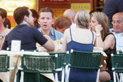 Holly Valance and husband Nick Candy enjoy a meal with some friends in Portofino. The actress is expecting her first child with Nick Candy.