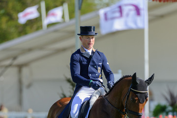 Horses Dirk Schrade on second place after the Dressage phase of the Mitsubishi Motors Badminton Horse Trials in London