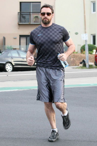 Hugh Jackman Hugh Jackman, showing a little grey in his beard, hits the gym