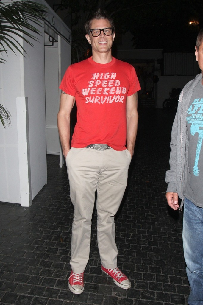 245af7975bd  Jackass  star Johnny Knoxville wears a red t-shirt proclaiming he s a