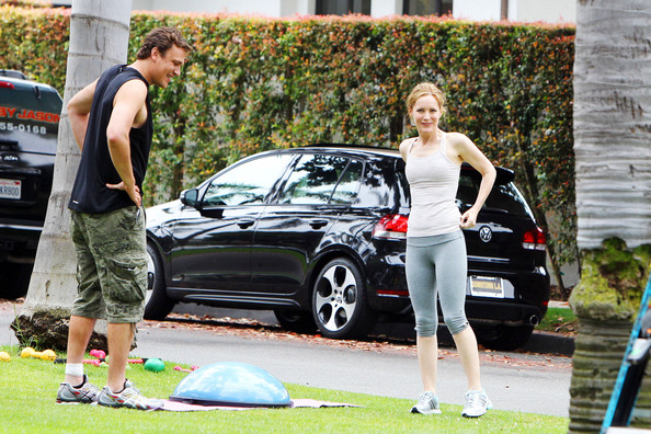 "Leslie Mann and Jason Segal were spotted working on Judd Apatow's latest project in the works, ""This is Forty,"" which will also star Megan Fox and Paul Rudd. The two are spotted filming a scene where Jason Segal's character is a personal trainer, training Leslie Mann's character ""Debbie."