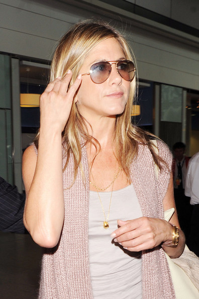 Jennifer Aniston touches down at Heathrow airport after flying in from LA. The former