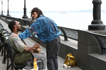 Jennifer Connelly Anthony Mackie Scenes from the 'Shelter' Set