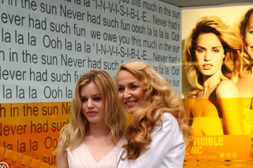 Jerry Hall Georgia May Jagger Jerry Hall and her daughter Georgia May Jagger team up to promote the Invisable Zinc suncare range at Selfridges in London