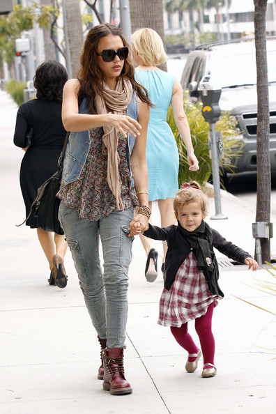 Jessica Alba and daughter Honor Marie, accompanied by the nanny,