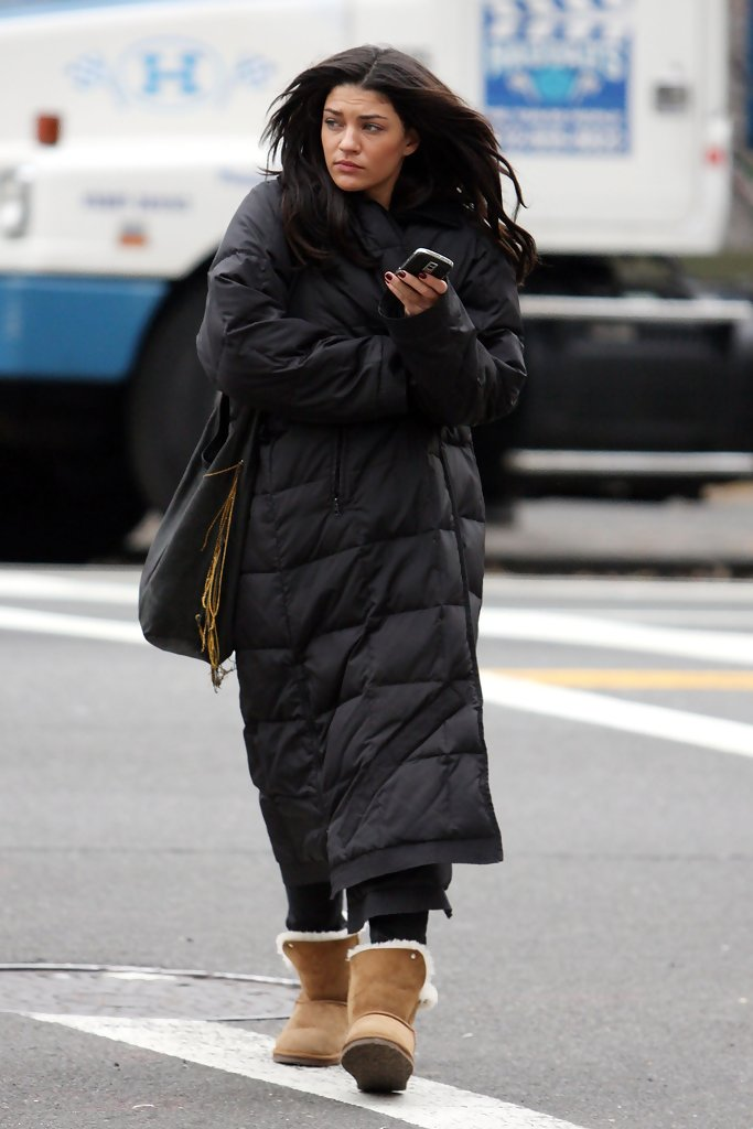 Jessica Szohr in Jessica Szohr wraps up for the cold in a