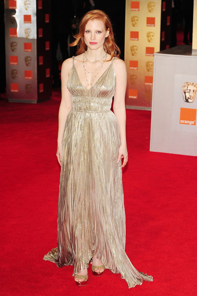 Jessica+Chastain in Stars at the 2012 Orange British Academy Film Awards 4
