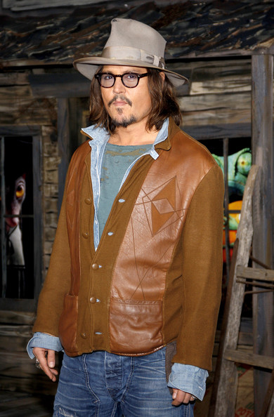 "Johnny Depp at the Los Angeles premiere of ""Rango"" held at the Regency Village Theatre, Los Angeles."