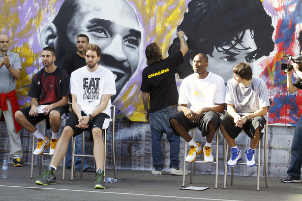 The Los Angeles Lakers participate in the House of Hoops basketball event in