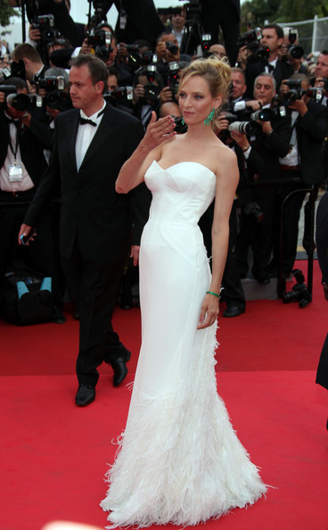 """Actress Uma Thurman at the premiere screening of """"Midnight in Paris"""" on the opening night of the  64th Annual Cannes Film Festival."""