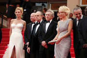 "The Jury at Cannes arrive at the premiere screening of ""Midnight in Paris"" on the opening night of the  64th Annual Cannes Film Festival.  Jury members L-R Uma Thurman, critic Gilles Jacob, Frederic Mitterand, Robert de Niro, Linn Ullmann, Olivier Assayas and Mahamat-Saleh Haroun on the red carpet."