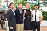 Justin Timberlake, Carey Mulligan, Garrett Hedlund and Oscar Isaac attend the photocall for 'Inside Llewyn Davis' during the 66th Annual Cannes Film Festival at Palais des Festivals in Cannes.