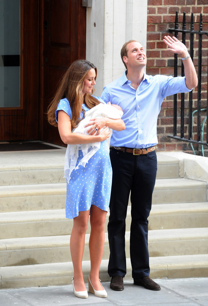 Kate Middleton Presents The Royal Baby in Jenny Packham