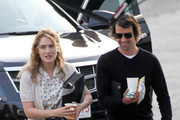 Actress Kate Winslet is joined on the set of her new film 'Labor Day' in Los Angeles by boyfriend Ned Rocknroll.