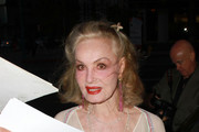 "Julie Newmar arrives for Rip Taylor's play ""It Ain't All Confetti"" in North Hollywood."