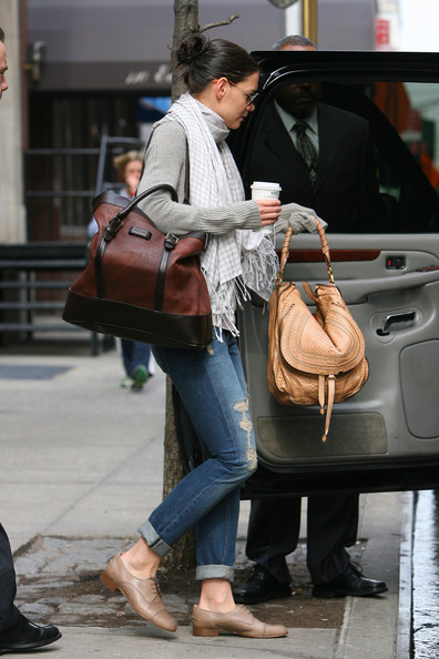 Katie Holmes Leather Hobo Bag