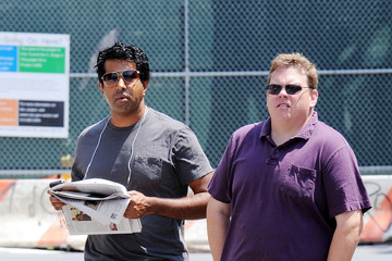 Kevin Heffernan Jay Chandrasekhar and Kevin Heffernan of Broken Lizard roam around New York City