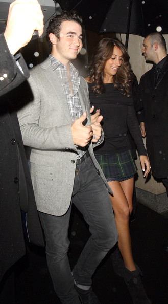 Kevin Jonas Kevin Jonas and wife Danielle Deleasa keep smiles on their faces despite the inclement London weather!! The happy couple were spotted leaving the Nobu restaurant in London's swanky Mayfair district.