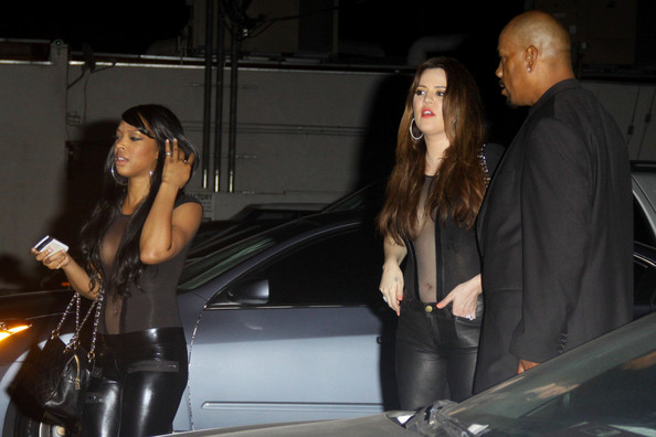 Khloe Kardashian Khloe Kardashian and a friend wear matching leather trousers and revealing top to the Factory for the Nicky Minaj afterparty.