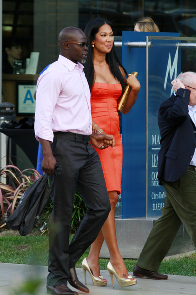 Kimora Lee Simmons and her husband actor Djimon Hounsou are spotted leaving the Spirit Awards luncheon at Boa.