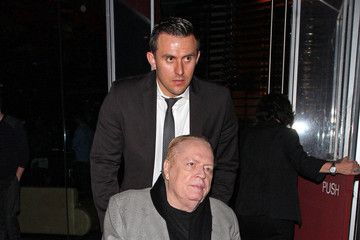 Larry Flynt Publisher and president of Hustler Magazine Larry Flint seen in his gold-plated wheelchair while leaving from the BOA Steakhouse in Hollywood
