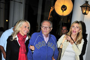 Larry King walks arm in arm with his glamorous wife, Shawn Southwick King, and a female freind on Rodeo Drive in Beverly Hills.