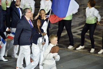 Laura Flessel-Colovic USA's delegation during the opening Ceremony of the London 2012 Olympic Games at the Olympic Stadium in London
