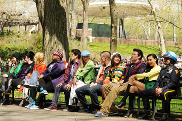 """Chris Colfer Cory Monteith Lea Michele and Heather Morris Film """"Glee"""" Scenes in Central Park"""