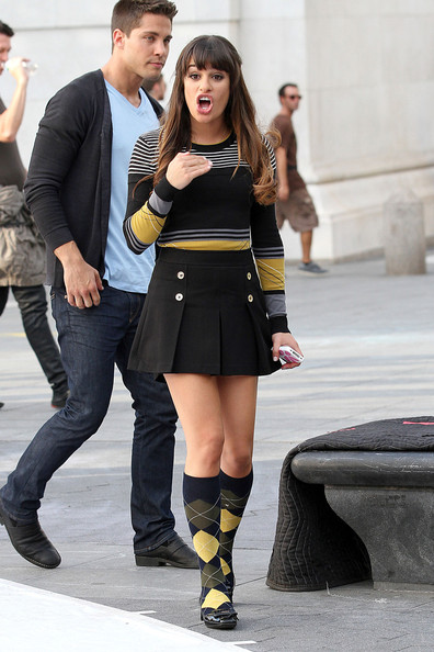 Lea michele in short dress with epic cleavage 5