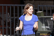 Leighton Meester sports straightened hair as she picks up take-out with a friend from Corner Bakery. The