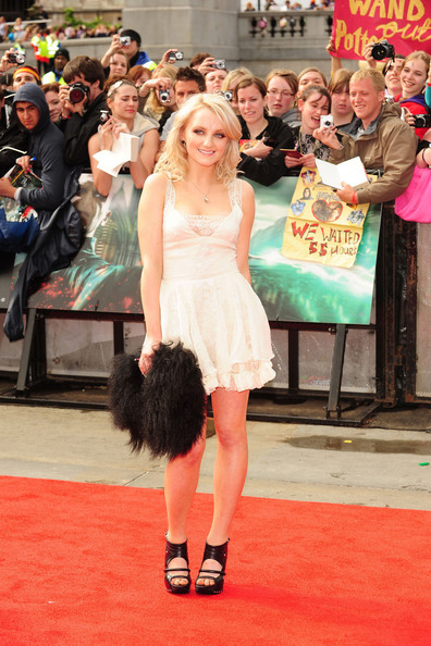 "Evanna Lynch arrives for the world premiere of ""Harry Potter and the Deathly Hallows - Part 2"" - the final Harry Potter film. The premiere was held in London's Trafalgar Square."
