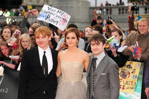 "Rupert Grint, Emma Watson and Daniel Radcliffe arrive for the world premiere of ""Harry Potter and the Deathly Hallows - Part 2"" - the final Harry Potter film. The premiere was held in London's Trafalgar Square."