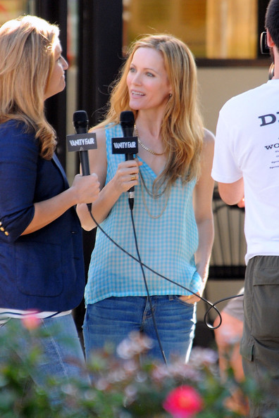 "Megan Fox, wearing a form-hugging mini dress, and Leslie Mann are interviewed on set of their new film ""This is Forty"" filming in Los Angeles. This Judd Apatow film will feature the ""Transformers"" actress along with Leslie Mann, who has appeared in many of the famed comedy director's films."