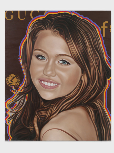 Miley Cyrus Portraits of Top Ten Celebrities Appear In One Of The World's Most Illustrious Art Galleries. Seen here, artist Richard Phillips' painting of Miley Cyrus as part of his 'Most Wanted' collection. Words by Paul Andrews, PacificCoastNews.