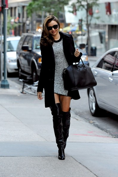 short dress with long boots