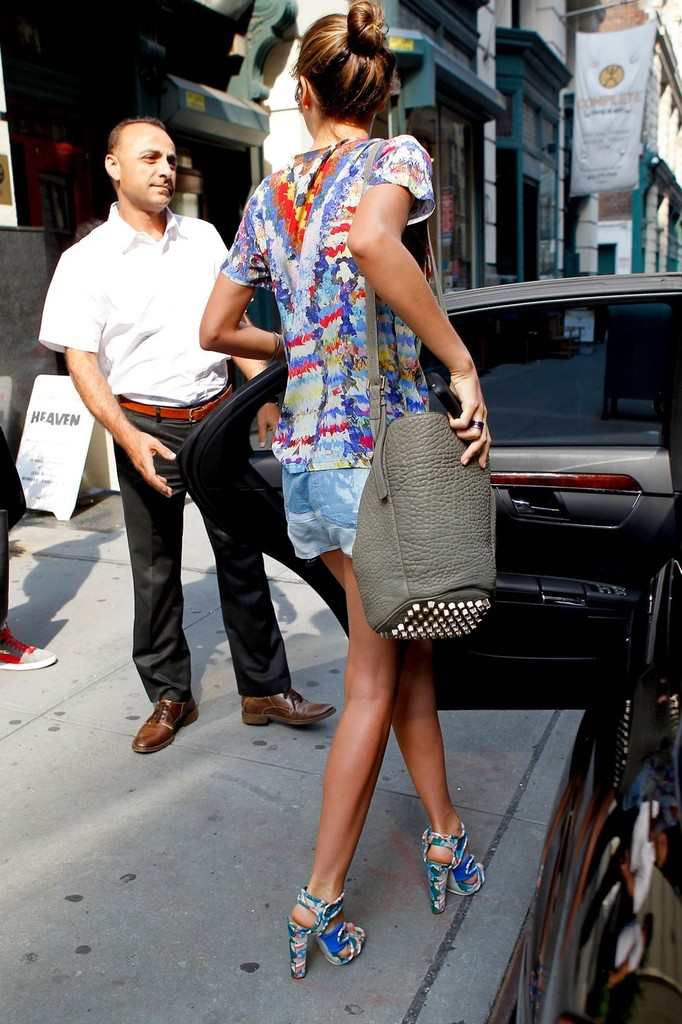 Miranda Kerr Dresses For Summer In Short Shorts And Colorful Open Toed Heels While Arriving For