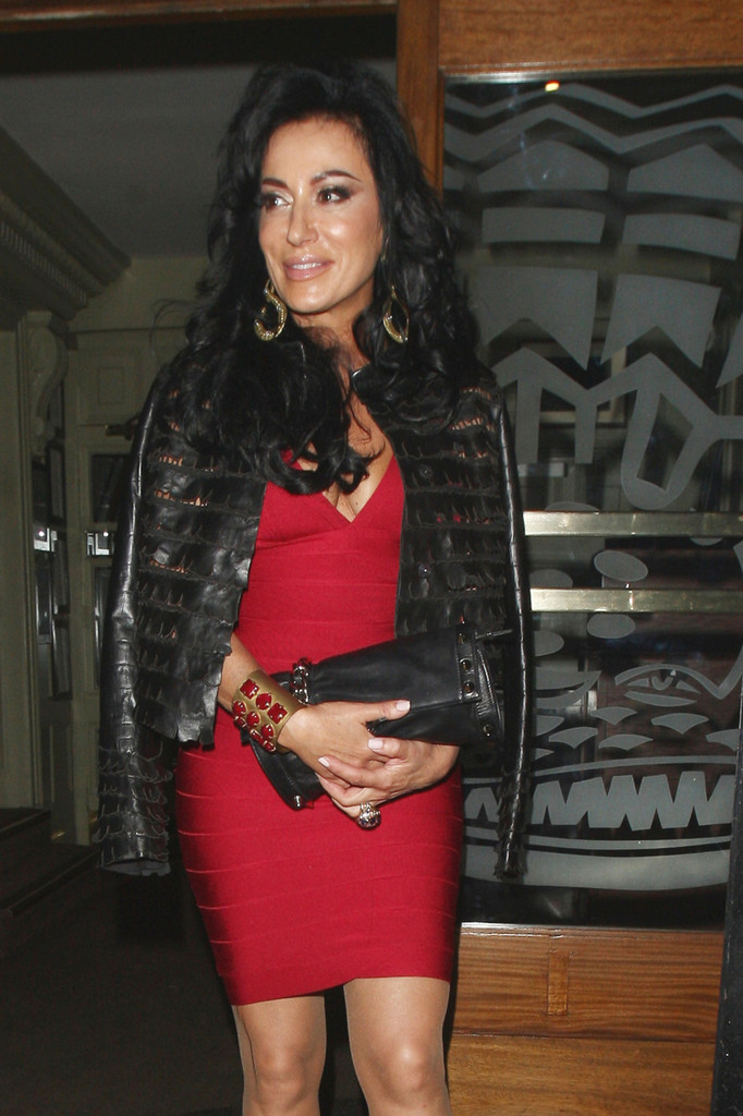 Nancy Dell'Olio Photos Photos - Nancy Dell'Olio seen leaving the Groucho Club in Soho, London.