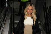 """The Only Way is Essex"" stars Frankie Essex and Lauren Goodger pictured leaving the May Fair Hotel in London."