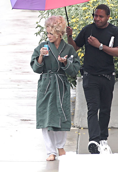 Pamela Anderson Walks in the Rain