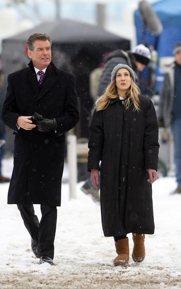 "Sarah Jessica Parker and Pierce Brosnan brave freezing temperatures as they get to work on their upcoming movie ""I Don't Know How She Does It"", filming on location in Battery Park, New York City."