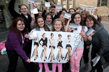Girlband Pop girlband The Saturdays sign copies of their latest single '30 Days' to an adoring crowd at HMV in Glasgow