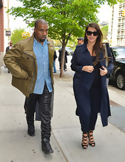 Kanye rocked a pair of baggy leather pants while out in NYC.
